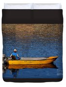 Old Man And His Boat Duvet Cover