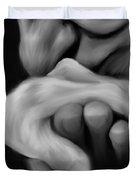 Old Man Kisses Hand Duvet Cover