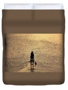 Old Man Paddling Into The Sunset Duvet Cover