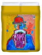 Old Man With Red Bowler Hat Duvet Cover