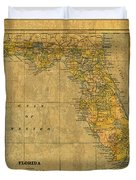 Old Map Of Florida Vintage Circa 1893 On Worn Distressed Parchment Duvet Cover
