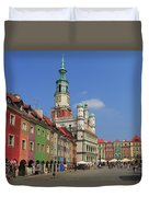 Old Marketplace And The Town Hall Poznan Poland Duvet Cover