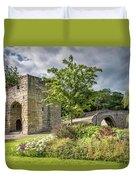 Old Medieval Bridge At Warkworth Duvet Cover