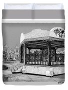 Old Mesilla Plaza And Gazebo Duvet Cover by Jack Pumphrey