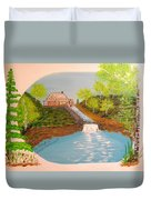 Old Mill And Falls Duvet Cover