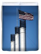 Old Mill Smoke Stacks With Flag Duvet Cover