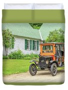Old Model T Ford In Front Of House Duvet Cover