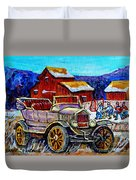 Old Model T Car Red Barns Canadian Winter Landscapes Outdoor Hockey Rink Paintings Carole Spandau Duvet Cover