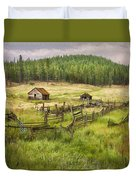 Old Montana Homestead Duvet Cover by Sharon Foster