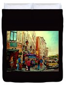 Old Montreal Cafes Duvet Cover