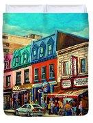 Old Montreal Schwartzs Deli Plateau Montreal City Scenes Duvet Cover