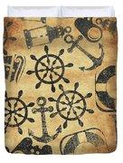 Old Nautical Parchment Duvet Cover