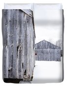 Old New England Barns Winter Duvet Cover