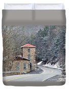 Old Paint Mill Winter Time Duvet Cover by Stephanie Calhoun