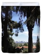 Old Palm Trees And Downtown Los Angeles Duvet Cover