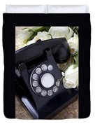 Old Phone And White Roses Duvet Cover by Garry Gay