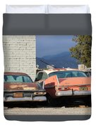 Old Plymouths With Mountain View  Duvet Cover