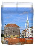 Old Portsmouth Flood Gates Duvet Cover