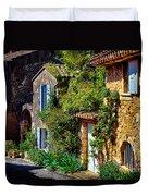 Old Provencal Village Street Duvet Cover