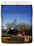 Old Quarry Machinery Winter Day Tegg's Nose Country Park Macclesfield Cheshire England Duvet Cover