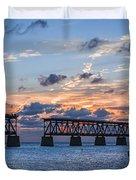 Old Rail Bridge At Florida Keys Duvet Cover