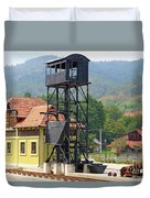 Old Railway Station On Mountain Duvet Cover