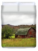 Old Red Adirondack Barn Duvet Cover by Nancy De Flon