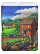 Old Red Appalachian Grist Mill Rural Landscape - Square Format  Duvet Cover