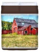 Old Red Barn Abandoned Farm Vermont Duvet Cover