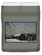 Old Red Barn In Winter Duvet Cover