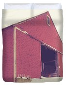 Old Red Barn In Winter Duvet Cover