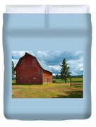 Old Red Big Sky Barn  Duvet Cover