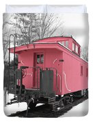 Old Red Caboose Square Duvet Cover
