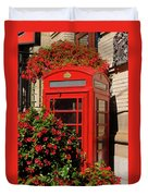 Old Red Telephone Box Or Booth Surrounded By Red Flowers In Toro Duvet Cover