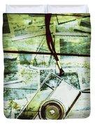 Old Retro Film Camera In Creative Composition Duvet Cover