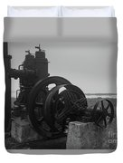 Old Rice Field Pump Bw Duvet Cover