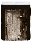 Old Rustic Black And White Barn Woord Door Duvet Cover