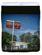 Old Rustic Fuel Station Sign In The Countryside Duvet Cover