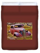 Old Rusty Car Bodie Ghost Town Duvet Cover by Garry Gay
