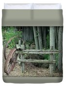 Old Rusty Wagon Wheels And Weathered Fence Duvet Cover