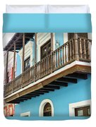 Old San Juan Houses In Historic Street In Puerto Rico Duvet Cover