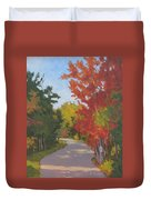 Old Scoolhouse Road Fall - Art By Bill Tomsa Duvet Cover