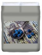 Old Spoon And Blueberries Duvet Cover