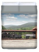 Old Steam Locomotive On Railway Station Duvet Cover