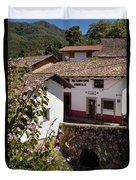 Old Stone Bridge In Historic Hillside Village Of San Sebastian D Duvet Cover