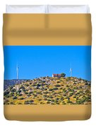 Old Stone Church And Green Energy Plant Duvet Cover