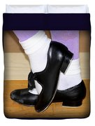 Old Tap Dance Shoes With White Socks And Wooden Floor Duvet Cover