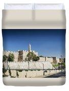 Old Town Citadel Walls Of Jerusalem Israel Duvet Cover