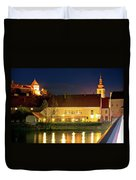 Old Town Of Ptuj Evening Riverfront View Duvet Cover