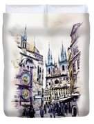Old Town Square In Prague Duvet Cover